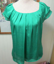 EUC Violet & Claire Kelly Green Satin Top in Medium M