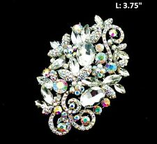 "3.75"" Long Silver Tone Clear and AB Rhinestone Brooch Pin"