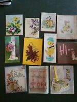 Lot of 11 Vintage Greeting Cards EASTER Spring Flowers Ducks Crafts Scrapbooking