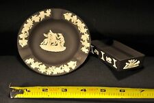Set of 2 Vintage Wedgewood Jasperware Black Ashtray and Match Holder