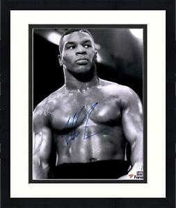 """Framed Mike Tyson Autographed 16"""" x 20"""" Black & White Fighting Stance Photograph"""