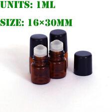 2pcs 1ml(16*30mm)  Roll on Glass Bottle Essential Oil Perfume Roller Ball & cap