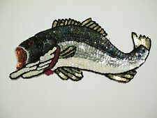 LARGE MULTI COLOR BIG MOUTH FISH SEQUIN & BEADED APPLIQUE SEW OR GLUE