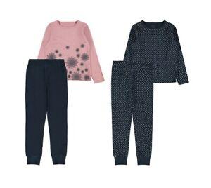 NAME IT 2er Pack Pyjama Schlafanzug blau rosa gepunktet Größe 86/92 bis 158/164