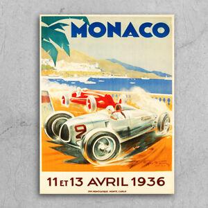 Metal Signs plaques retro style Monaco 1936 classic car poster garage mancave