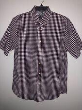 Dockers Mens Shirt Sleeve Button Down Shirt Purple BluE White Size M EUC