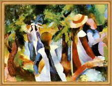 Mädchen unter Bäumen August Macke Sonne gesellig Plauderei Licht LW H A1 0056