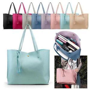 Women New Fashion Synthetic Leather Handbag Tassel Tote Shoulder Lady Bag Purse
