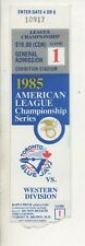 1985 ALCS Toronto Blue Jays vs Kansas City Royals Game 1 Ticket Stub