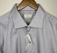 NWT $325 Eton Cambridge Micro Check Cotton Luxury Dress Shirt Bespoke 18.5/38