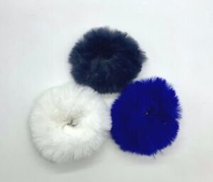 Ladies Girls Navy White & Blue Faux Fur Elasticised Hair Scrunchies New