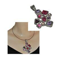 La Tribu Rigaux Gros pendentif original plaqué argent cristal violet rose bijou