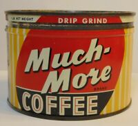 Old Vintage 1950s MUCH MORE COFFEE KEYWIND COFFEE TIN ONE POUND CHICAGO ILLINOIS