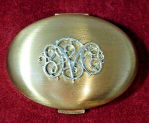 Vintage 'M' Signed Germaine Monteil Oval Gold Compact Makeup Mirror Cd100