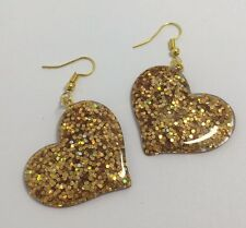 Holo Gold Large Heart Glitter Charms Acrylic Earrings D204a Kitsch Fun 5.5cm Lon