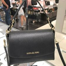 Michael Kors Women Small Leather Satchel Crossbody Bag Handbag Purse Black Gold