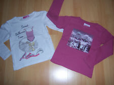 Lot de 2 tee-shirts ML rose+blanc fille 6 ANS