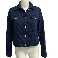 Michael Kors women's jean jacket button front navy blue front size S