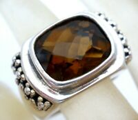 Michael Dawkins Ring Sterling Silver Ginger Brown Smoky Quartz 925 Size 6 Signed