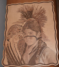 """Don Blackwell tooled leather, """"Native American boy & Eagle"""" pyrography painting"""