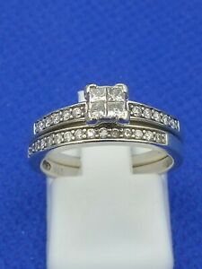 Ernest Jones 9 carat White Gold 0.33 Ct Diamond Ring Bridal Set Size K.5 4.1g