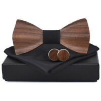 1X(3D Holz Katte Quadrat Manschetten KnöPfe Mode Holz Fliege Hochzeit Handg T2F3