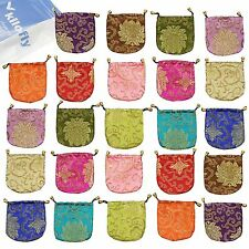 kilofly Chinese Silk Brocade Drawstring Jewelry Pouch Bag Value Set, 24 pcs