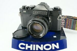 VINTAGE CHINON CS 35MM SLR BLACK BODY W/55MM f/1.7 LENS *TECHNICIAN SERVICED**