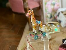 Vintage Miniature Dollhouse ARTISAN Tiny Giraffe Pull Toy Signed FABULOUS Mini