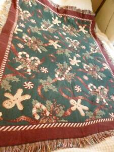 Goodwin Weavers Cotton Gingerbread Man Candy Cane Christmas Tapestry Blanket