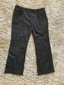 Next Petite Smart Office Dark Grey Patterned Trousers Size 16P