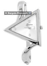 "ladies modern triangle fashion dress silver tone watch dial 6.5"" bracelet"