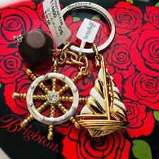 Brighton WINDSTAR Nautical Gold Silver Sailboat Keychain/Key Fob NWT
