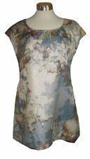 XS BRYN WALKER Blue Cream Shimmer Tapestry Amy Tunic Top NWT $178