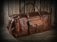 Large Men's Vintage Real Leather Luggage Tote Bag Travel Bag Duffel Gym Bag New
