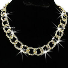 Micro Pave Set Cz Crystal Circle Curb Chain Link TENNIS Line Statement Necklace