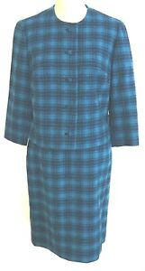 Pendleton Womens Wool Suit Two Tone Blue Plaid Lined Covered Buttons Career12 A2