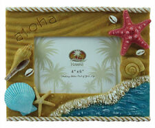 "Hawaiian Picture Photo Frame Poly Resin 4""x6"" Aloha Hawaii Beach Shells Sand NIB"