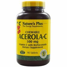 Nature's Plus, Chewable Acerola-C, Vitamin C with Bioflavonoids, 500 mg, 90 Tabs