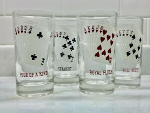 """Set of 4 Vintage Drinking Glasses with Playing Card Motif 5"""" Tall"""