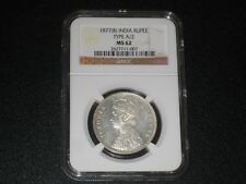 1877(B) India Rupee. Type A/2. NGC MS 62. Beautiful Coin.