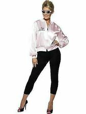 Womens Grease Pink Ladies Jacket Fancy Dress Costume 50s Hen Party Adult Outfit Small Size 8-10
