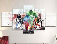 Multi Panel Print Decor Super Heroes Canvas Set Watercolor 5 Piece Wall Art