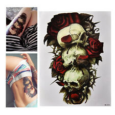 Waterproof Skull and Rose Temporary Tattoo Large Arm Body Art Tattoos Sticker FD