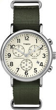 "Timex TW2P71400, ""Weekender"" Green Nylon Watch, Chronograph, Date, Indiglo"