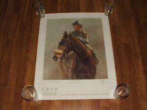 JOHN HENRY HORSE RACE PRINT SIGNED CHRIS MCCARRON JOCKEY ARTIST FRED STONE