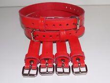 Dolls Pram Coach built vintage pram real leather  suspension straps in RED