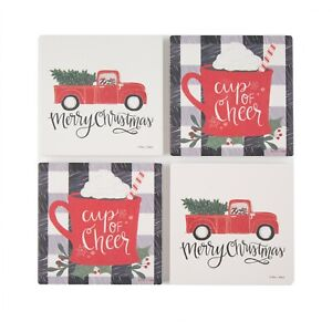 Set of 4 Holiday Time Merry Red Pickup Truck & Plaid Cheer Square Coasters -1277