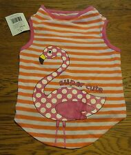 "Sz M Orange Stripe Pink Flamingo  ""SUPER CUTE"" T-Shirt  Puppy/Dog nwt"