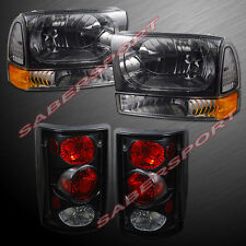 2000-2004 FORD EXCURSION SMOKE HEADLIGHTS + CORNER + BLACK TAIL LIGHTS COMBO